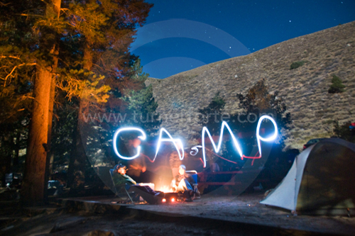Bishop Creek Campground at night (painting with light)